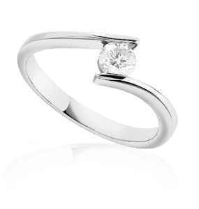 Bague solitaire or 750 blanc diamant 30/100e de carat