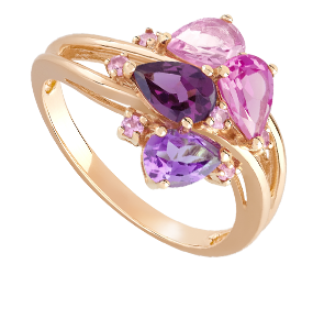 Bague or 750 blanc tourmaline rose et diamant