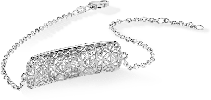 Bracelet or 750 blanc, diamants
