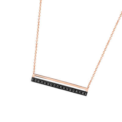 COLLIER or rose 375 et 17 diamants noirs