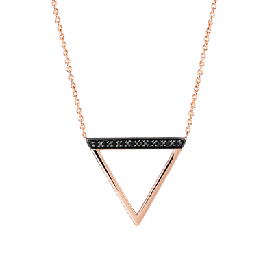 COLLIER or rose 375. 10 diamants noirs