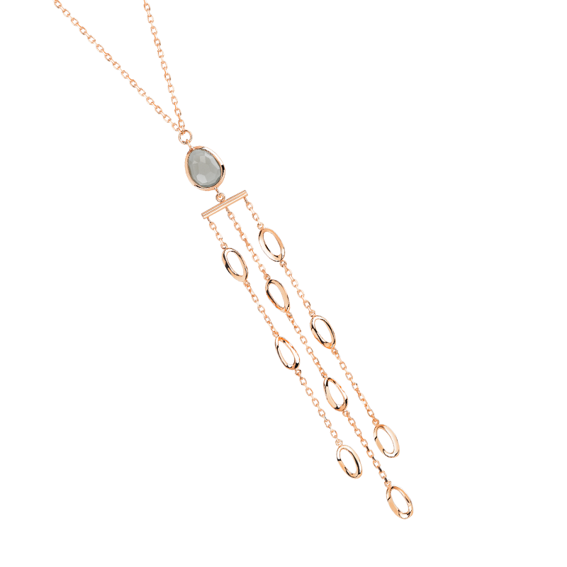 COLLIER or rose 750 et 1 quartz fumé