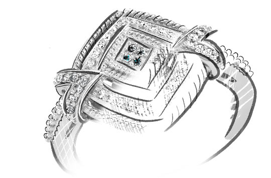 Croquis V1 Bague 20's chic