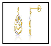 Boucles d'oreilles or 375 2 tons diamant